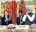 Manmohan Singh and the Chairperson, National Advisory Council, Smt. Sonia Gandhi at the Mahatma Gandhi NREGA Sammelan-2011, on the completion of five years of Mahatma Gandhi NREGA, in New Delhi on February 02, 2011.jpg