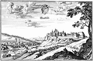 Mansfeld - Mansfeld town and castle, 1650 engraving by Matthäus Merian