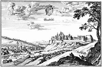 Mansfeld - Mansfeld town and castle, 1650 engraving by Matthäus Merian
