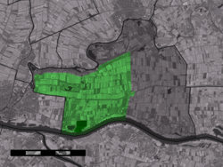 The village centre (dark green) and the statistical district (light green) of Vuren in the municipality of Lingewaal.
