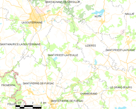 Mapa obce Saint-Priest-la-Feuille