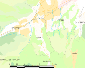 Codalet - Map of Codalet and its surrounding communes