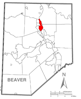 Map of Beaver Falls, Beaver County, Pennsylvania Highlighted.png