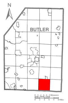 Map of Clinton Township, Butler County, Pennsylvania Highlighted.png