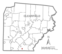 Map showing Coalport in Clearfield County