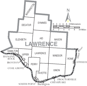 Lawrence County, Ohio - Map of Lawrence County, Ohio with Municipal and Township Labels