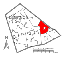 Map of Lebanon County, Pennsylvania highlighting Jackson Township