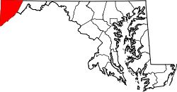 map of Maryland highlighting Garrett County