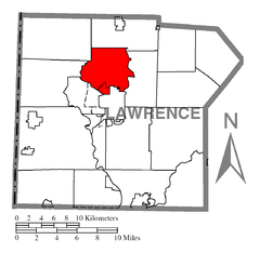 Map of Neshannock Township, Lawrence County, Pennsylvania Highlighted.png