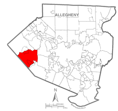 Map of North Fayette Township, Allegheny County, Pennsylvania Highlighted.png