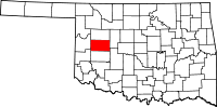 Map of Oklahoma highlighting Custer County
