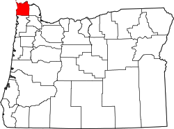 Map of Oregon highlighting Clatsop County.svg