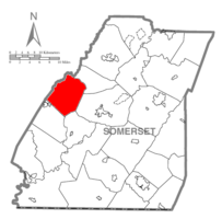 Map of Somerset County, Pennsylvania Highlighting Jefferson Township