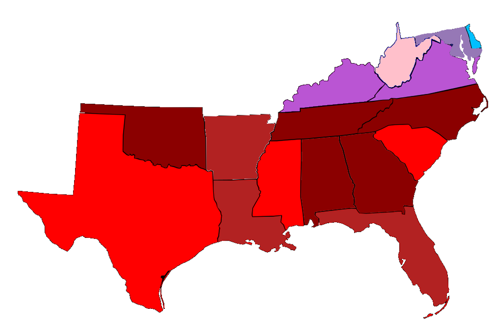 Map of Southern state legislatures and Governors (2015)