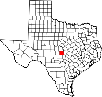 Map of Teksas highlighting Llano County