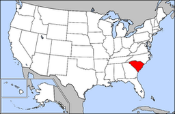Kort over USA med South Carolina markeret