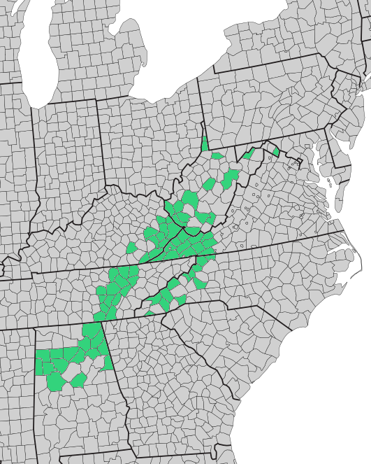 Map of counties included in the 1982 report of the Appalachian Land Ownership Task Force