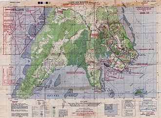 Battle of Labuan - An Allied map of southern Labuan marked with the invasion beaches and estimates of Japanese positions as at April 1945