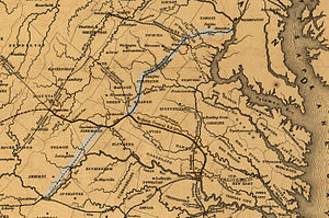 Orange and Alexandria Railroad - Image: Map showing the Orange and Alexandria Railroad
