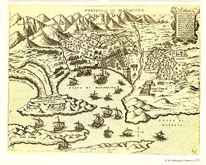 Makarska -  Map depicting the Turks trying to recapture Makarska after the Battle of Lepanto in 1571.