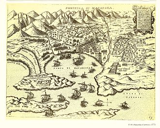 Makarska -  Map depicting the Turks trying to recapture Makarska after the Battle of Lepanto in 1571.