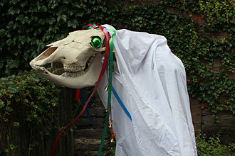 Hobby horse - A Welsh Mari Lwyd with Christmas tree baubles for eyes.