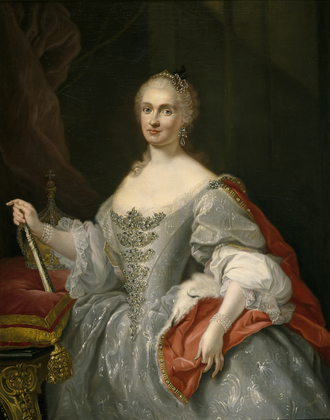 Maria Amalia of Saxony - Maria Amalia overlooking the Neapolitan crown, by Giuseppe Bonito, c. 1745.