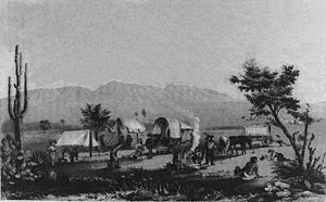 Southern Emigrant Trail - An American wagon train at Maricopa Wells in 1857.