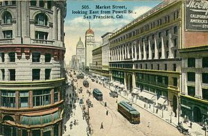 Market Street (San Francisco) - Market Street, pictured on a postcard, c.1900. At the near left, the Flood Building at Powell Street. The Emporium is to the right.