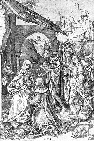 The Adoration of the Kings (Gossaert) - Image: Martin Schongauer Adoration of the Magi WGA21023
