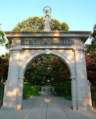 Marywood University - The Memorial Arch, built in 1902, marks the entrance to the original Motherhouse, which was the location of St. Mary's Seminary.