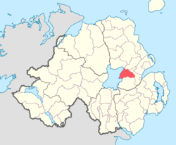 Location of Massereene Lower, County Antrim, Northern Ireland.
