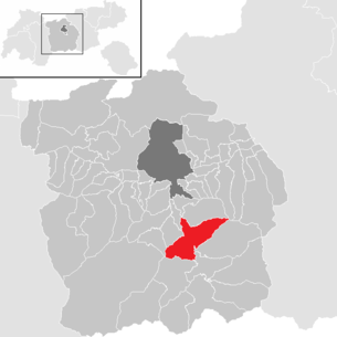 Location of the municipality of Matrei am Brenner in the Innsbruck-Land district (clickable map)