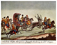 Painting of people traveling on horseback and in a carriage drawn by stags