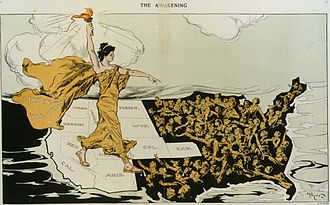 "Progressive Era - ""The Awakening"" Suffragists were successful in the West; their torch awakens the women struggling in the East and South in this cartoon by Hy Mayer in Puck Feb. 20, 1915"