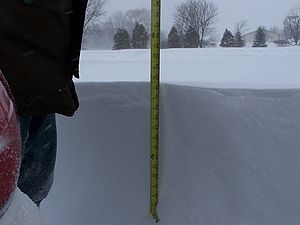 Measurement of snow accumulation in Pleasant Prairie Wisconsin during snowfall.jpg