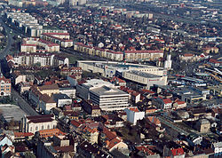 Aerial photograph of Miskolc (Buza and Heroes Square area)
