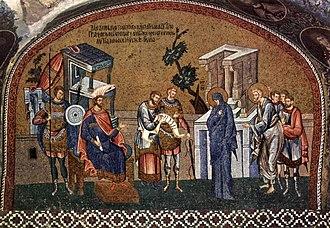 Census of Quirinius - Mary and Joseph register for the census before Governor Quirinius. Byzantine mosaic c. 1315.