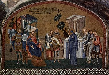 The Roman civil service in action. Note the whip carried by the sergeant. The Virgin and St Joseph register for the census before Governor Quirinius, mosaic 1315–20.