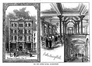 Coffee palace - Melbourne Coffee Palace, one of the earliest, including interior views in 1881