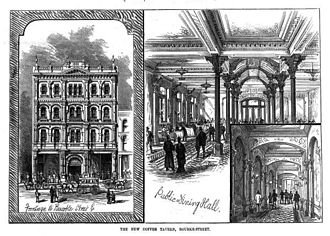 Coffee palace - The Melbourne Coffee Palace, built in Bourke Street in 1881, was one of the earliest truly grand coffee palaces in Australia, featuring ornate interiors such as a grand dining room