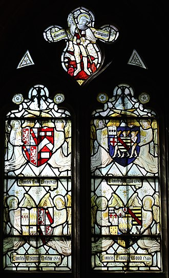 Charles Wood, 1st Viscount Halifax - Heraldic memorial window to Grey and Wood family, Church of the Holy Angels, Hoar Cross, Staffordshire