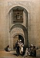 Men smoking outside an arabesque mansion in Cairo. Coloured Wellcome V0019280.jpg