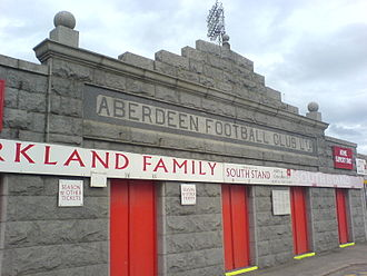 Aberdeen F.C. - Pittodrie Stadium's granite facade viewed from outside the Merkland Road stand