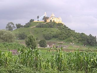 Great Pyramid of Cholula - From a distance the pyramid looks like a natural hill topped by a church