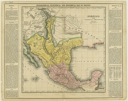 Mexico and its interior provinces in 1822, including the province of Texas Mexico in 1822.jpg