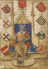 Der deutsche Kaiser, umgeben von Kurfürstenwappen (sowie Österreich, Papstwappen; Folio 7r)