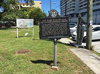 Miami Women's Club - Historical plaque with history.