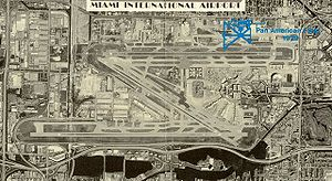 A satellite image of Miami International Airport superimposed over the old 36th Street airfield