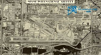 Miami International Airport - A satellite image of Miami International Airport superimposed over the noted locations of old Miami City Airport / Pan American Field / 36th Street Airport of the 1920s to 1950s era, in the upper right corner facing 36th Street